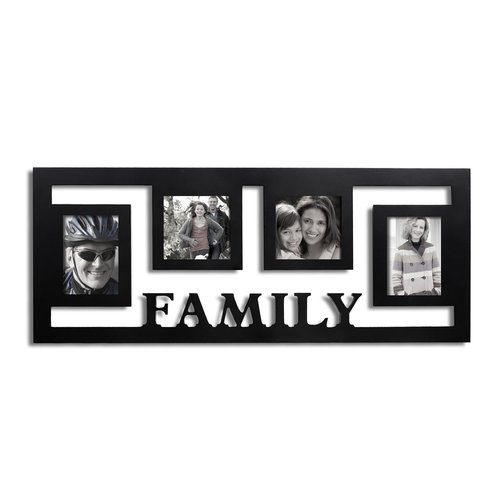 Adeco Trading 4 Opening ''Family'' Hearts Collage Picture Frame