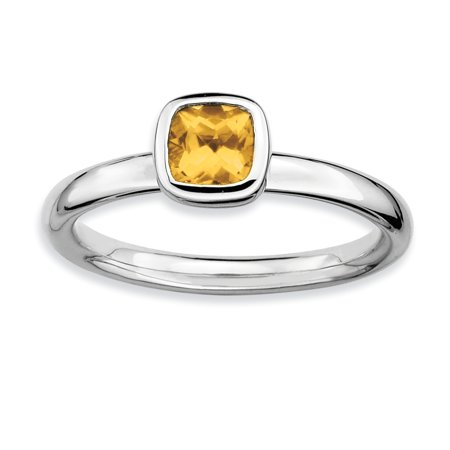 925 Sterling Silver Cushion Cut Yellow Citrine Band Ring Size 6.00 Stone Stackable Gemstone Birthstone November Fine Jewelry Ideal Gifts For Women Gift Set From (Cushion Cut Gemstone Ring)