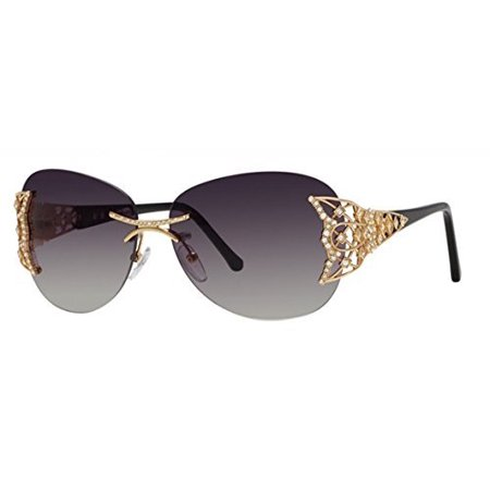 Caviar 6854 Sunglasses Champagne Series Sun Glasses Rimless Ladies Clear Crystals 21 Grey