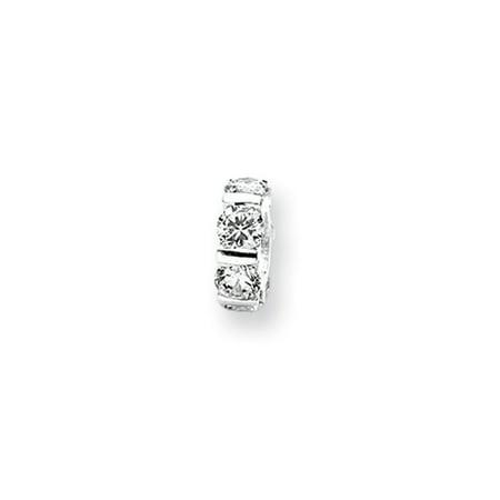 Clear Cz  Wheel Pattern Charm In Silver For 3Mm Bead Bracelets