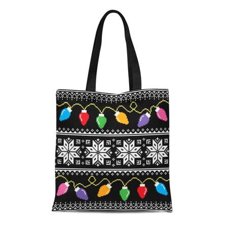 ASHLEIGH Canvas Tote Bag Blue Reindeer Ugly Jumper Pattern Christmas Tree Lights Green Durable Reusable Shopping Shoulder Grocery - Christmas Tree Jumper