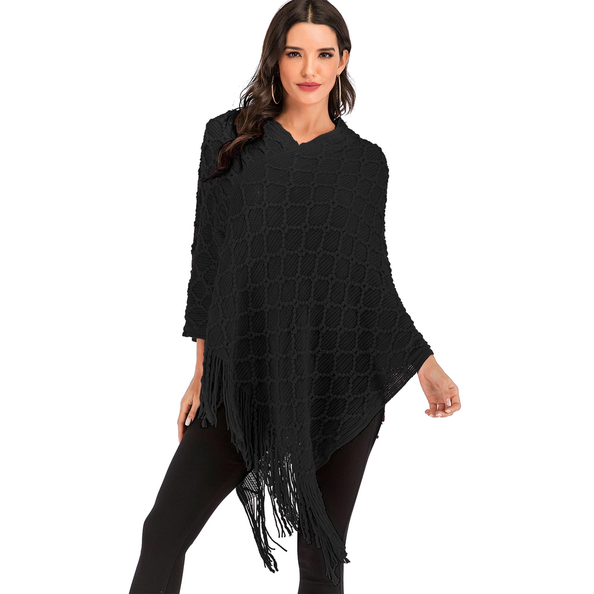 Sayfut Womens Chic Asymmetrical Crochet Knitting Batwing Poncho Sweater With Fringe Long Sleeve Black Red Khaki Walmart Canada