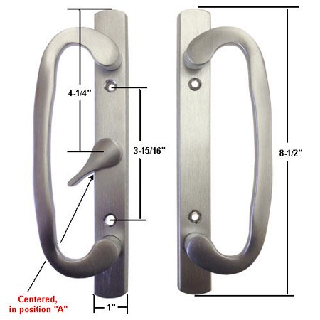 Sliding Glass Patio Door Handle Set, Mortise Type, A-Position, Centered Latch Lever, Non-Keyed, Brushed Chrome, 3-15/16