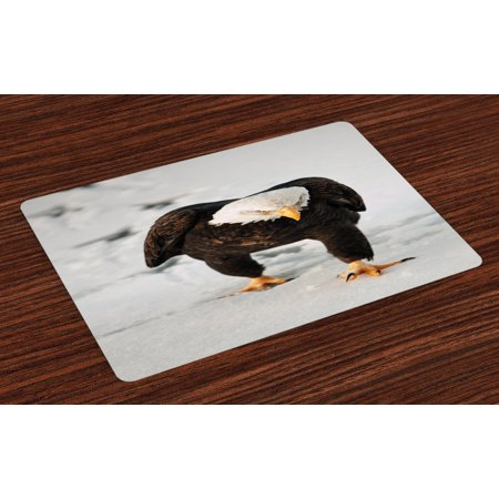 Eagle Placemats Set of 4 Majestic Bird Walking on the Snow and Leaving Traces Looking for Prey, Washable Fabric Place Mats for Dining Room Kitchen Table Decor,Dark Brown Coconut Apricot, by Ambesonne