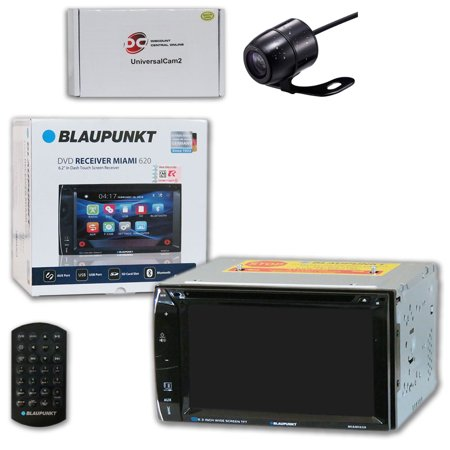 Blaupunkt MIAMI620 Car Audio Double Din 2DIN 6.2 Touchscreen DVD MP3 CD Stereo Bluetooth with DiscountCentralOnline SC09 Waterproof Nightvision back-up camera (Blaupunkt Car Audio)