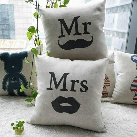 Meigar Mr & Mrs Couple Lover Wedding Decor Decorative Throw Pillow Case Cushion Cover Clearance 16x16 inch Square Zipper Waist Pillowcase Pillow Protector Slip Cases Sham for Home - Mr & Mrs Pillows