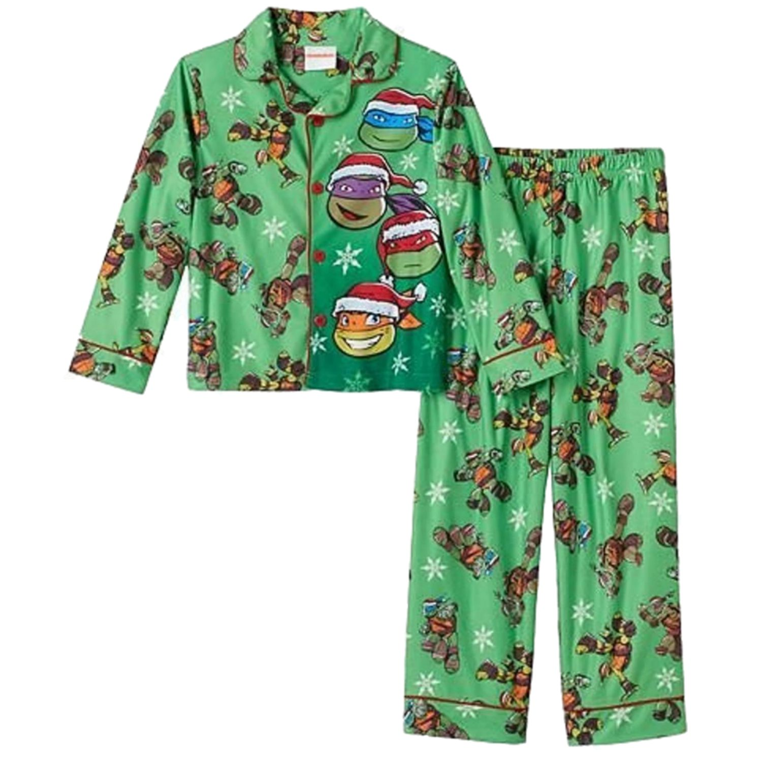 Teenage Mutant Ninja Turtles Boys Santa Hat Holiday Flannel Pajama Set