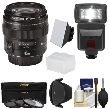 Canon EF 85mm f/1.8 USM Lens with 3 Filters + Hood + Flash & 2 Diffusers +