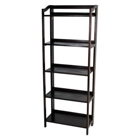 Yu Shan Stratford Folding Bookcase In Espresso - (Five Shelves)
