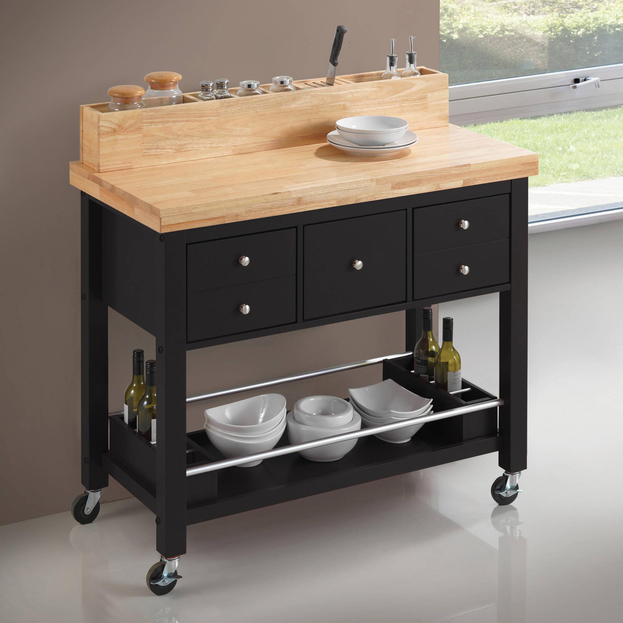 Coaster Furniture Kitchen Cart, Natural and Black