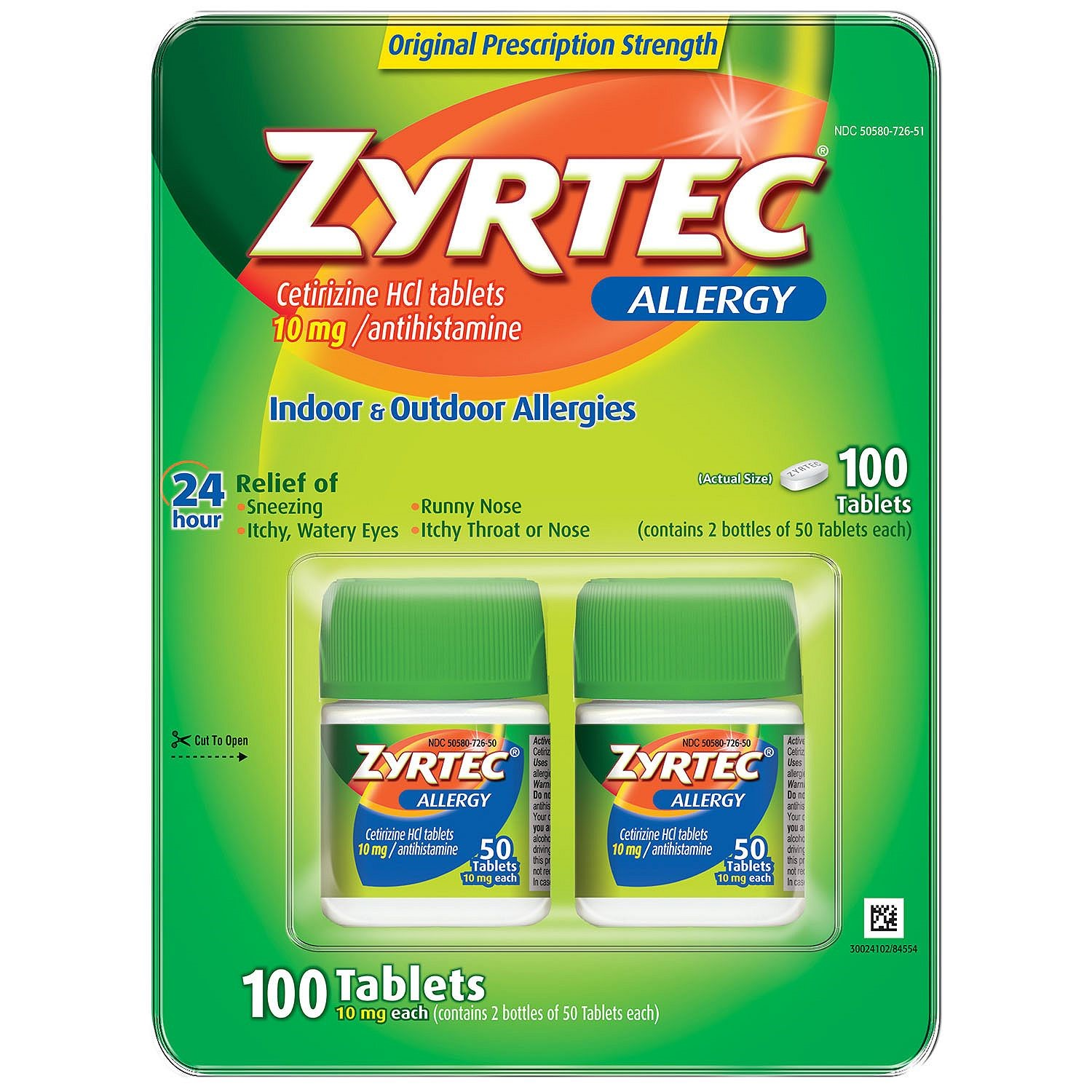 Zyrtec Allergy 10mg Tablet, 50 Tablet Bottles, 2 Ct