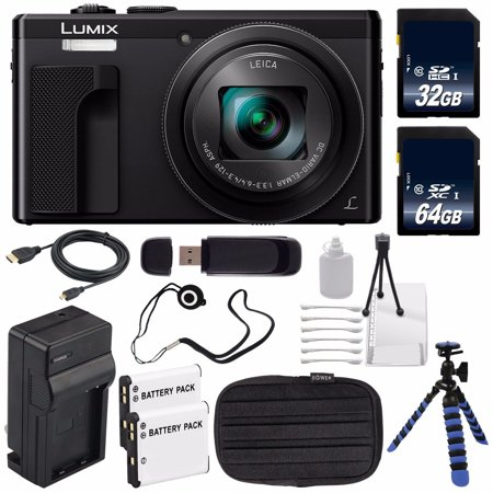 Panasonic LUMIX 4K DMC-ZS60 Digital Camera (Black) (International Model) No Warranty + DMW-BLE9 Replacement Battery + Small Case + Charger + Mini HDMI Cable + 32GB SDHC Class 10 Memory