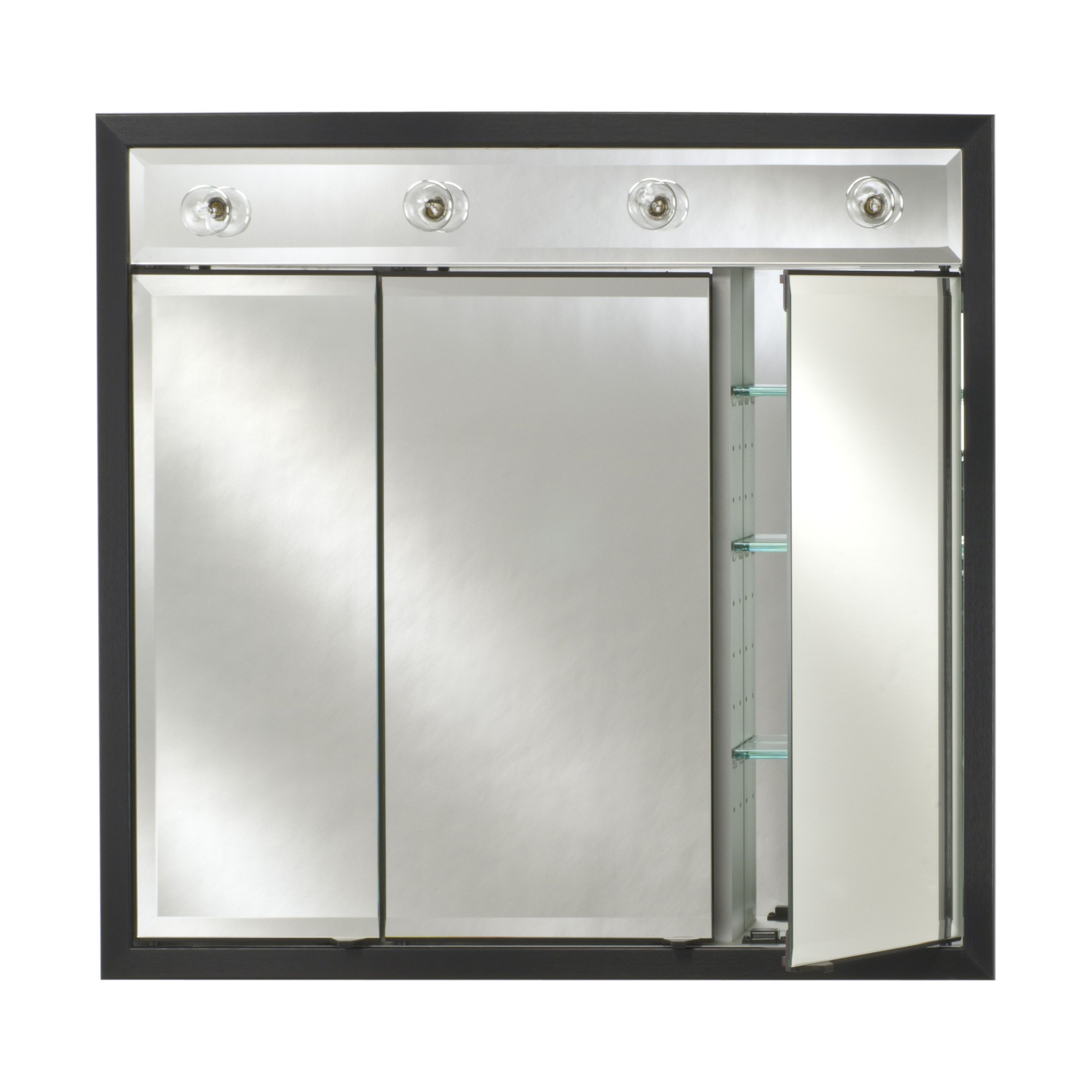 Afina Signature Contemporary Lighted Triple Door 34W x 34H in. Surface Mount Medicine Cabinet