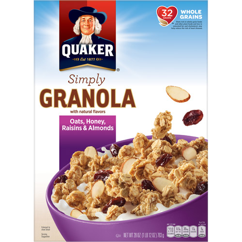 Quaker Simply Granola Oats, Honey, Raisins & Almonds Cereal, 28 oz