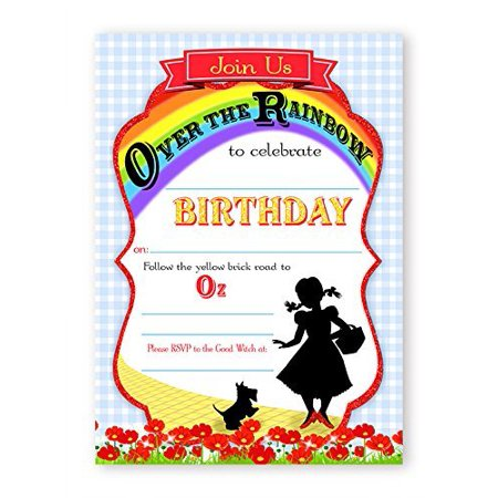 Wizard of Oz LARGE Invitations - 10 Invitations + 10 Envelopes (Wizard Of Oz Invitations)