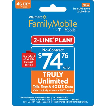 Walmart Family Mobile $74.76 TRULY Unlimited 2-line Plan w 5GB of Mobile Hotspot per line (Email