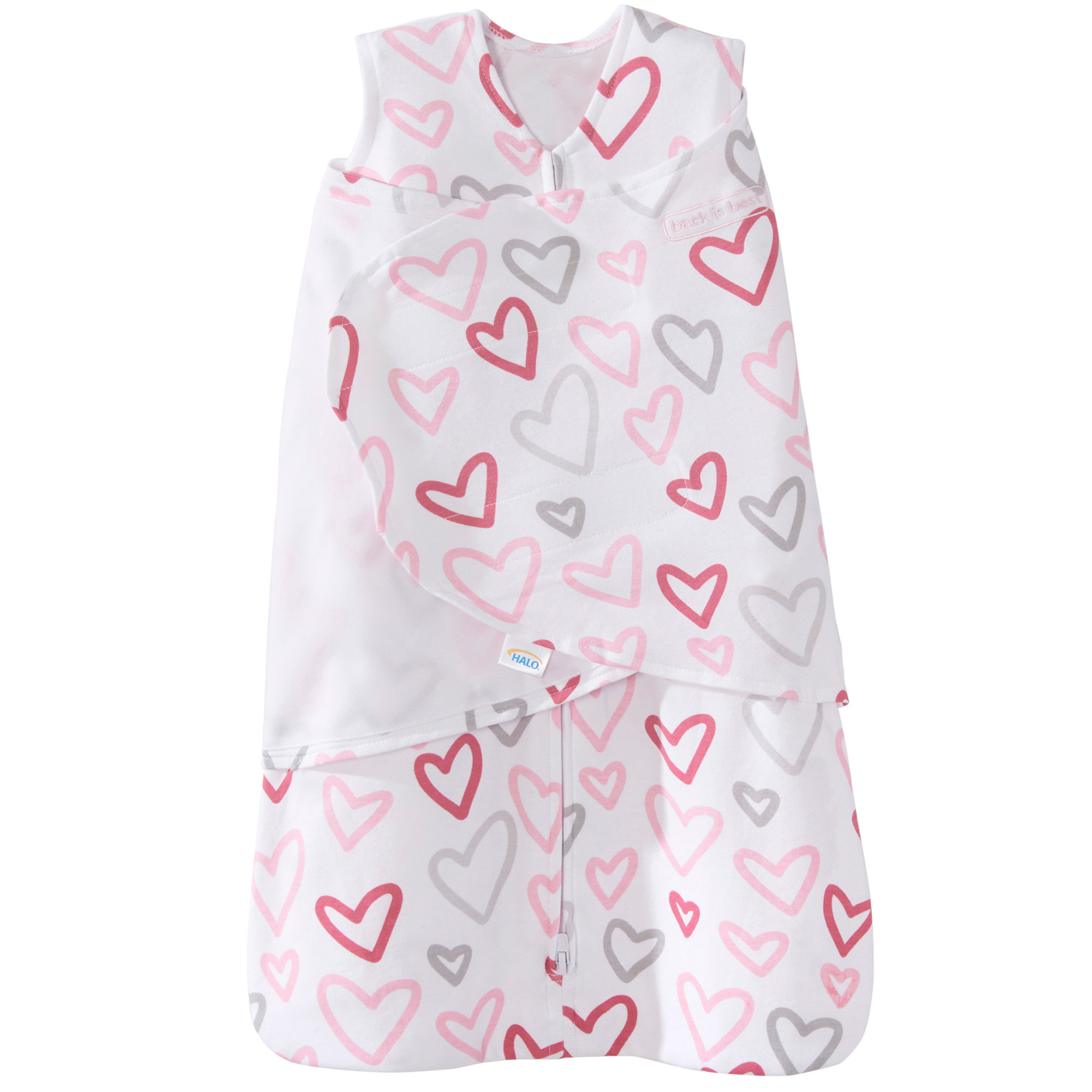 Halo 100% Cotton Baby Sleepsack Swaddle Wearable Blanket, Modern Pink Hearts, Newborn