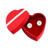 Boucles d'oreilles en argent sterling avec perles d'eau douce (8-9 mm) dans une boîte en forme de cœur - Cadeau pour votre bien-aimé !