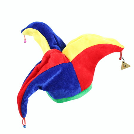 Funny Multicolor Halloween Jester Clown Mardi Gras Party Costume Hat ()
