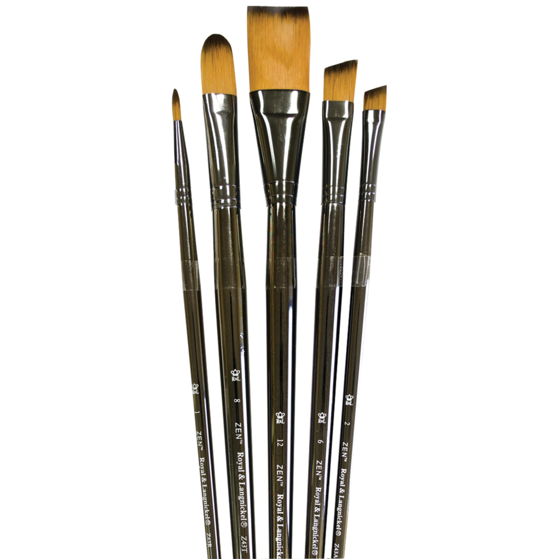 Royal /& Langnickel Zen 5 Piece All Media Angular Paint Brush Set by Royal /& Langnickel