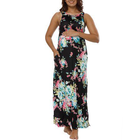 Isabella Oliver Maternity Dress - Women Sling Strap Pregnant Vest Dress Long Maxi Maternity Photography Prop Floral Print Casual Loose Dress