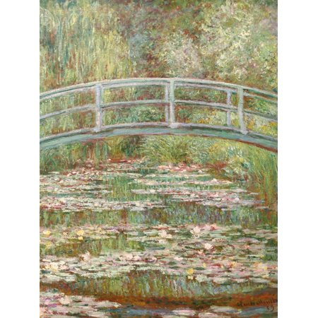 Bridge over a Pond of Water Lilies Impressionist Botanical Fine Art Painting Print Wall Art By Claude (Bridge Over A Pond Of Water Lilies)