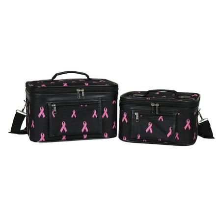 - World Traveler  Pink Ribbon 2-Piece Train Cosmetic Case Set