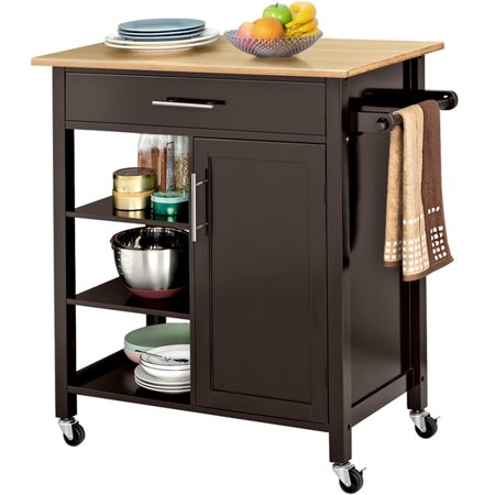 Yaheetech Rolling Kitchen Cart Vintage Coaster Home Furniture w/Drawer 4-Tier Storage/Compartment Wooden Kitchen Cabinet ()