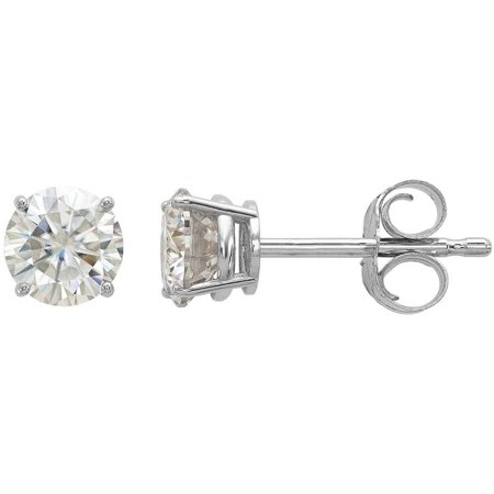 Endless Light Lab-Created Moissanite 14kt White Gold 4.5mm Round Post Earrings