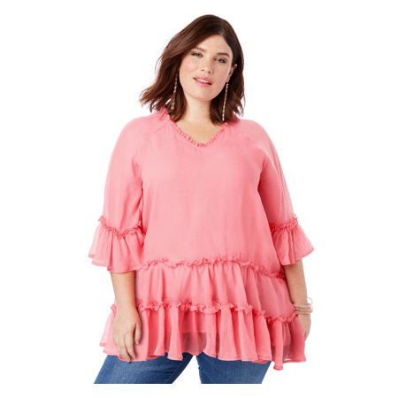 fd8ad42b8241f Roaman's - Roaman's Plus Size Tiered Ruffle Tunic With Bell Sleeves -  Walmart.com