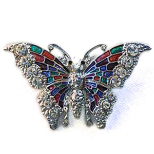 Platinum-Plated Swarovski Crystal Butterfly Enamel Brooch Pin by
