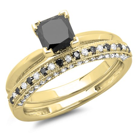 Dazzlingrock Collection 1.50 Carat (ctw) 18K Princess Cut Black & Round White Diamond Ladies Bridal Solitaire Engagement Ring With Matching Millgrain Wedding Band Set 1 1/2 CT, Yellow Gold, Size 5
