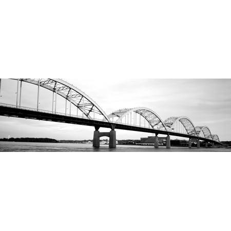 USA Iowa Davenport Centennial Bridge over Mississippi River Canvas Art - Panoramic Images (6 x 18)