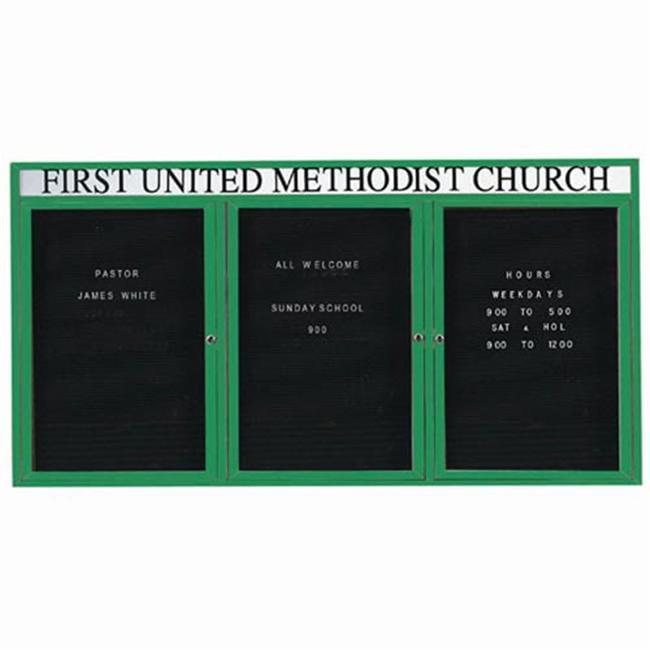 Aarco ADC4896-3HG 3-Door Enclosed Directory Board with Header - Green