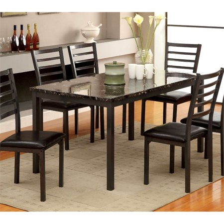 - Furniture of America Maxson Faux Marble Top Dining Table in Black