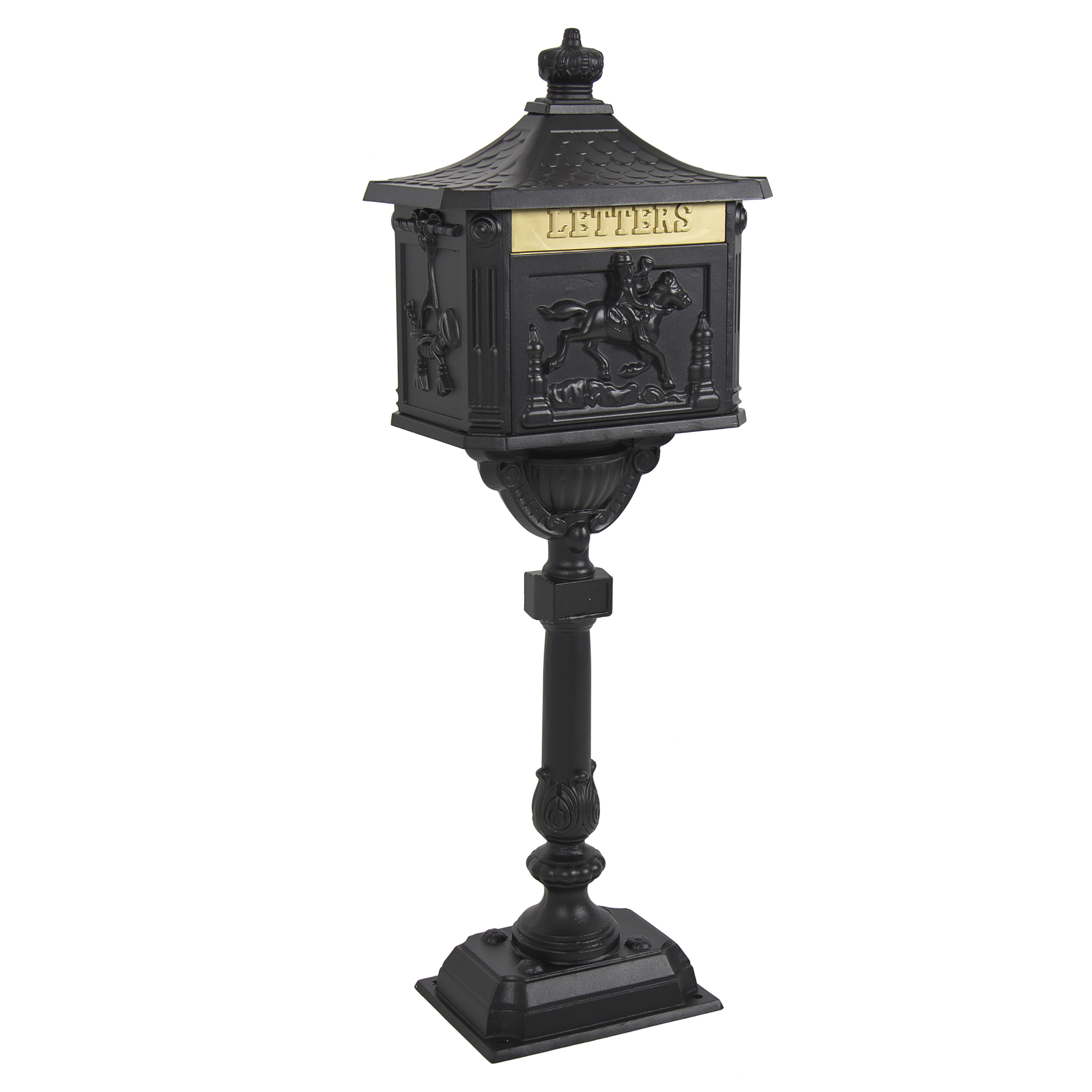 Mailbox Cast Aluminum Black Mail Box Postal Box Security Heavy Duty New by
