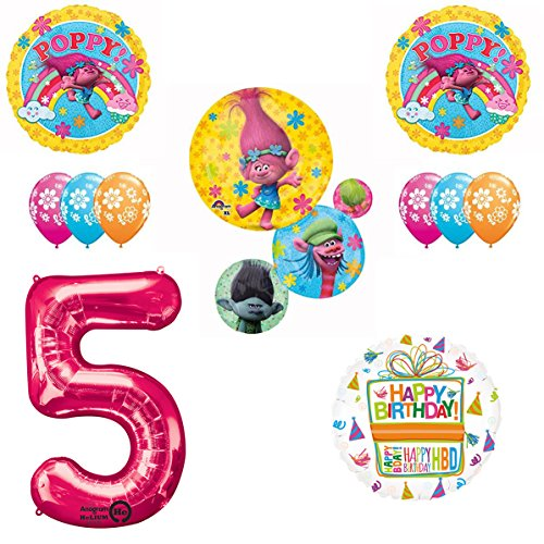 TROLLS Movie 5th Happy Birthday Party Balloons Supplies Poppy Branch Movie