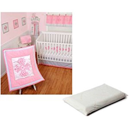 Sumersault Princess Crib Bedding 4 Piece Set with ClevaFoam Baby Pillow by