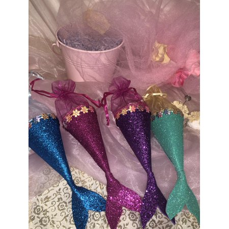 CharmedShinny Glittered Little Mermaid Party Candy Bags Kids Birthday Favor Bags; Fuchsia; 8
