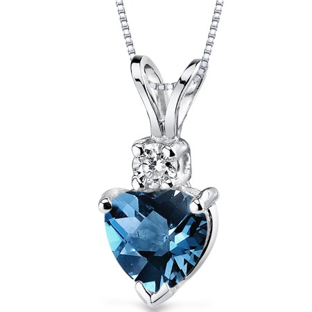 Peora 1.00 Carat T.G.W. Heart-Cut London Blue Topaz and Diamond Accent 14kt White Gold Pendant, 18