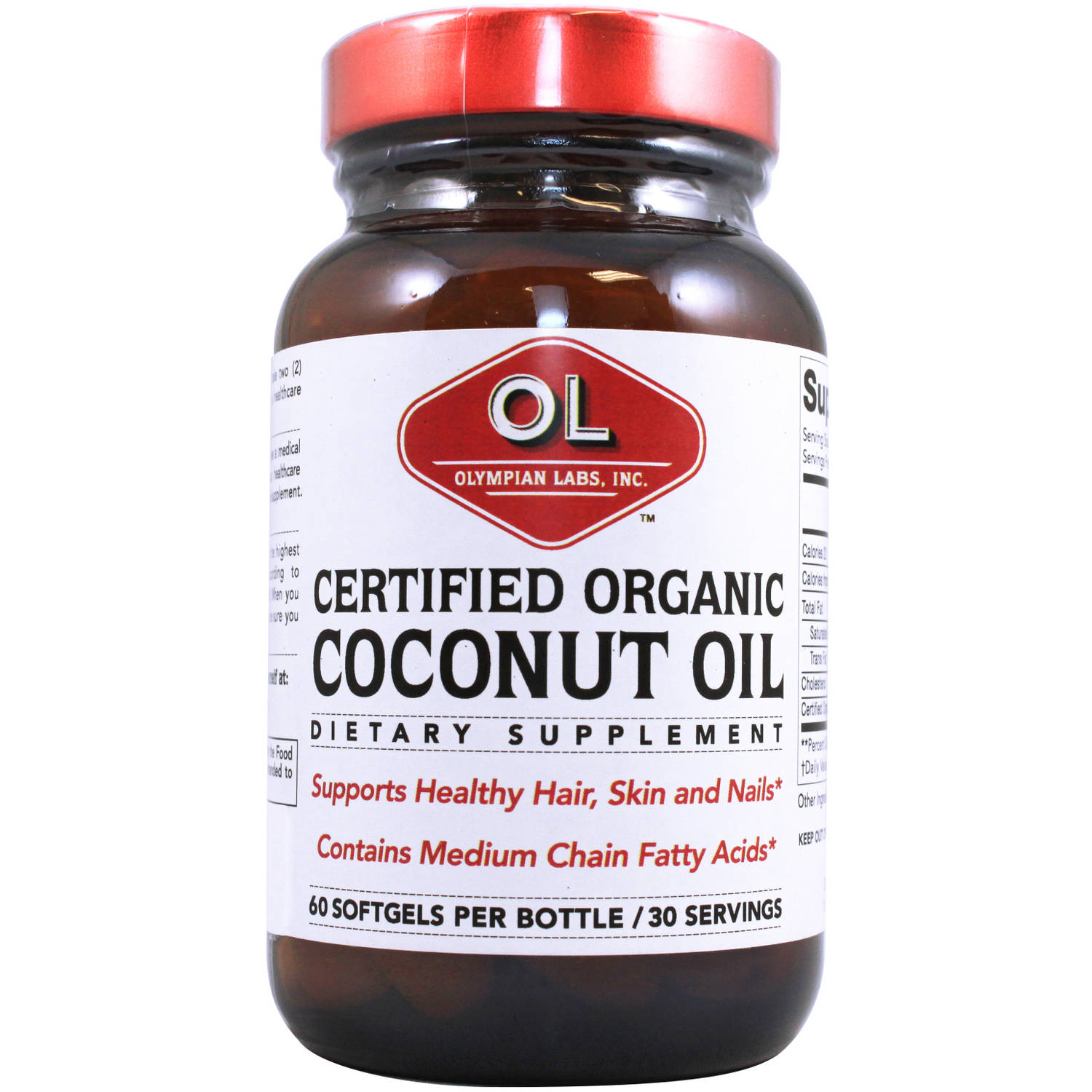 Olympian Labs Certified Organic Coconut Oil Dietary Supplement, 60 count