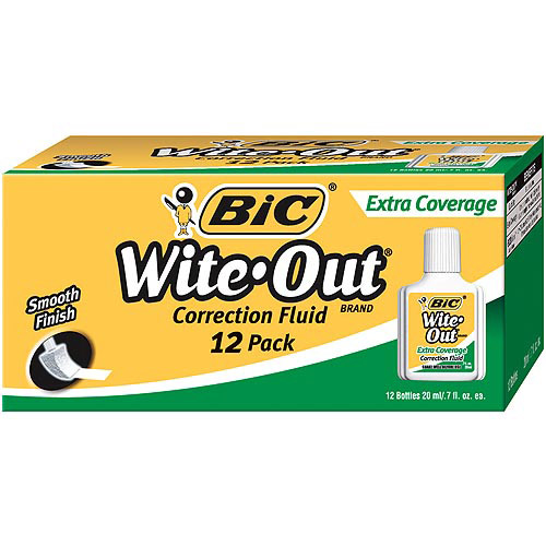 Bic Wite-Out Extra Coverage Correction Fluid, White, 1-Dozen