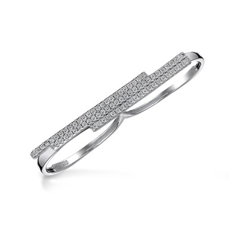 Adjule Pave Cz Bars Modern Two Finger 925 Silver Ring