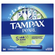 Tampax Pearl Super Absorbency Plastic Tampons, Unscented, 36 Ct
