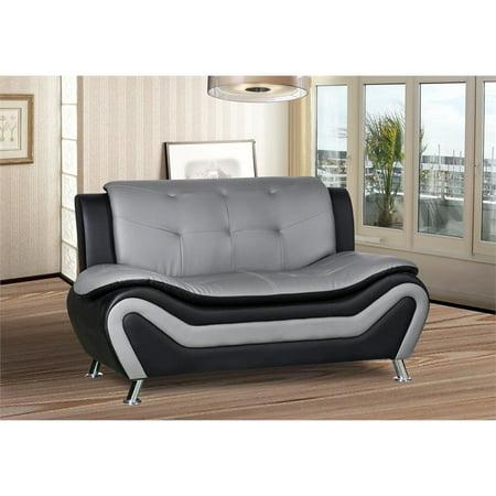 Kingway Furniture Gilan Faux Leather Living Room Loveseat - Black/Grey (Loveseat Living Room Furniture)