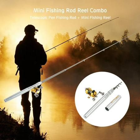 Fishing Rod Reel Combo Set Mini Telescopic Portable Pocket Pen Fishing Rod Pole + Reel Aluminum Alloy Fishing Line Soft Lures Baits Jig Hooks ()