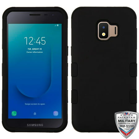 Samsung Galaxy J2 PURE Phone Case Tuff Hybrid Shockproof Impact Rubber Dual Layer Armor Hard Soft Protective Hard Case Cover Rubberized BLACK Phone Case For Samsung Galaxy J2 Pure /J2 Core /J2