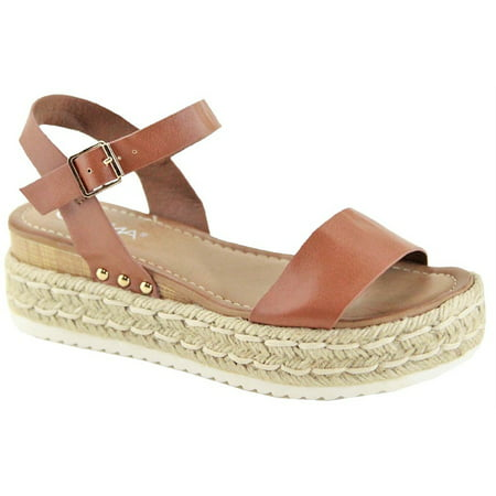 Women Flatform Platform Espadrille Mary Jane Strap Open Toe Sandal Wedge Camel