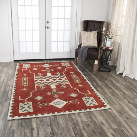 Rizzy Home Mesa Red Southwest Tribal Shag 5 X 8 Area Rug