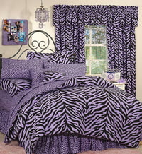 Black & Purple Zebra Bed in a Bag Set - Queen Size